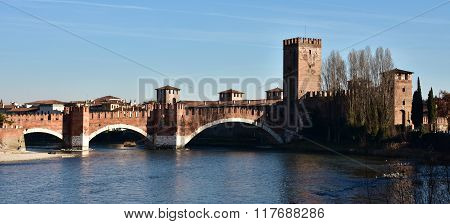 Adige River At Sunset With Castelvecchio And Scaliger Bridge