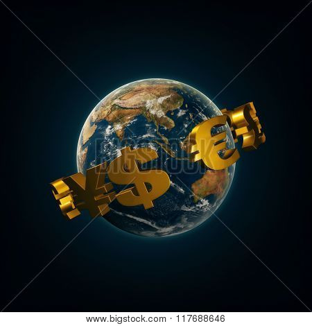 World currency signs around the planet earth