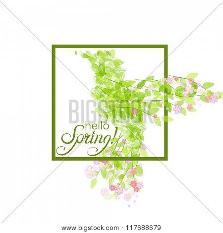 Colibri icon. Flying beautiful bird with flowers and green leaves. Vector illustration