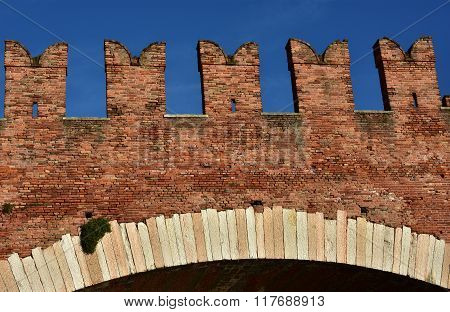 Ghibellin Battlements From Scaliger Bridge In Verona