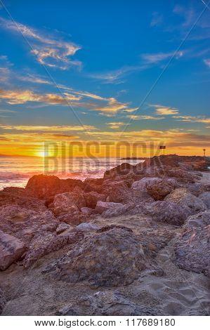 Following the rocks to the horizon.