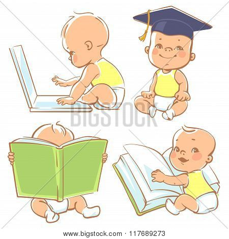 Cute little baby learning.