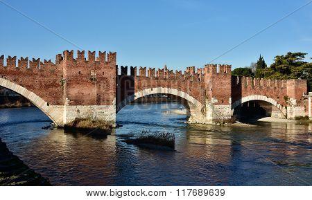 Scaliger Bridge Over Adige River In Verona, Italy