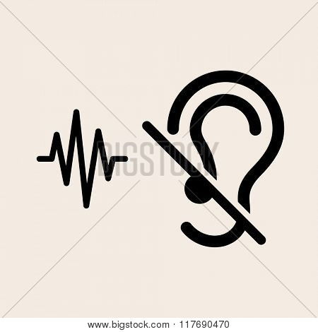 Deaf Icon, Disability to Hear Vector Illustration
