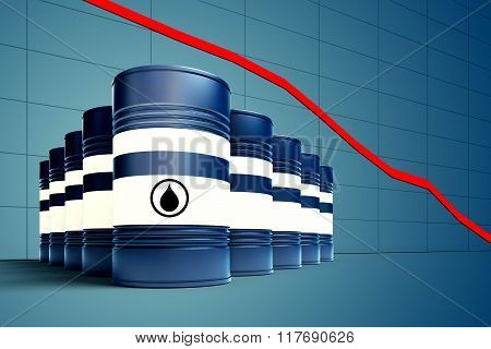 Oil Barrel With Decreasing Price Graphic