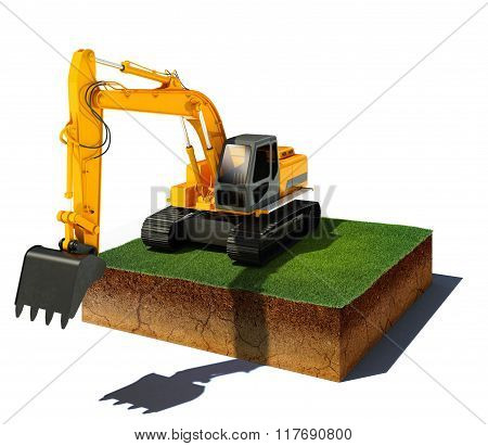 Dirt Cube With Excavator Isolated On White Background