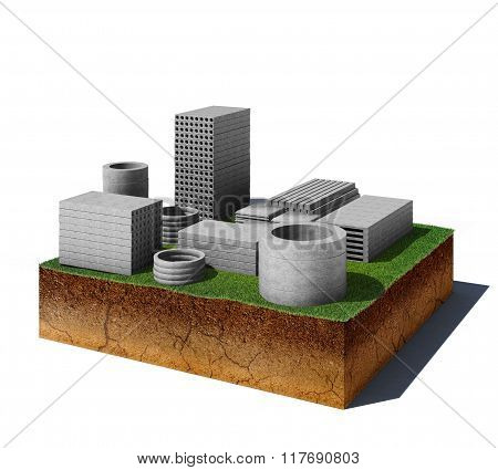 Dirt Cube With Concrete Panels Isolated On White Background
