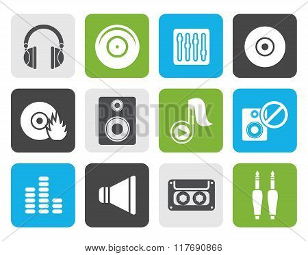 Flat Music and sound icons