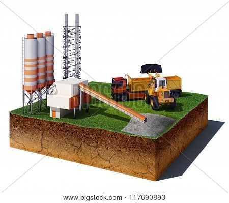 Dirt Cube With Factory, Excavator And Truck Isolated On White Background
