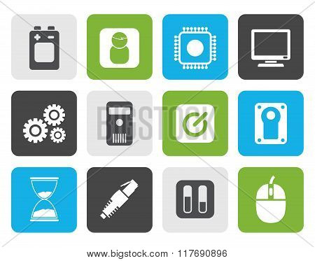Flat Computer and mobile phone elements icons