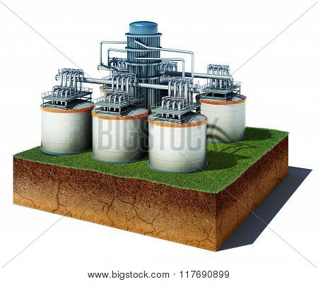 Dirt Cube With Oil Or Gas Storage Isolated On White Background