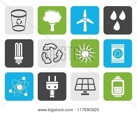 Flat Ecology, energy and nature icons
