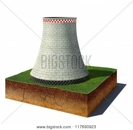 Dirt Cube With Nuclear Plant Isolated On White Background
