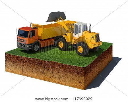 Dirt Cube With Truck Loading Isolated On White Background