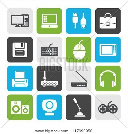 Flat Computer equipment and periphery icons