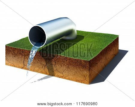 Dirt Cube With Water Pipe Isolated On White Background