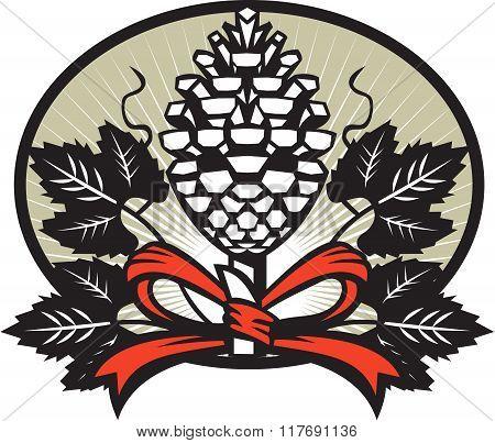 Thyrsus Pine Cone Staff Leaves Oval Retro