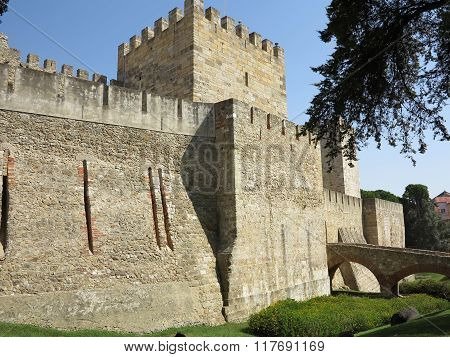 historic fortress of sao jorge in lisbon, portugal