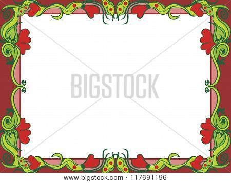 Postcard With Floral Elements In Dim Hues