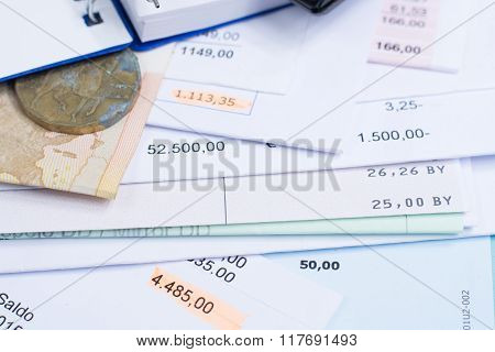 Mortgage And Utility Bills, Coin And Banknote, Calculator, Closeup
