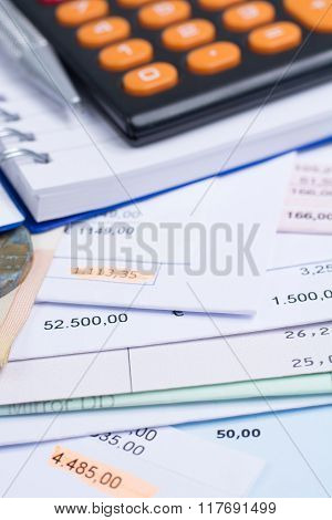 Mortgage And Utility Bills, Coin, Calculator