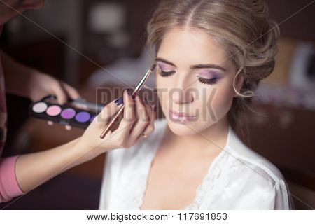 Beautiful Bride Portrait Wedding Makeup, Wedding Hairstyle, Wedding Dress. Professional Stylist Make