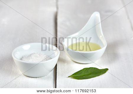 Salt And Oil An A Basil Leaf