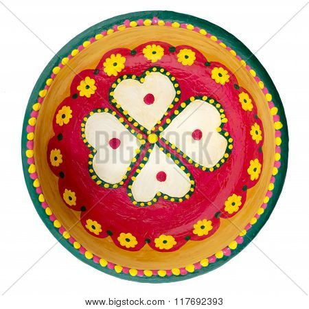 Pottery Painted Colorful Handcrafted Plate