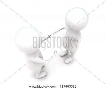 3D Men Having Conversation Or Dicussion Concept