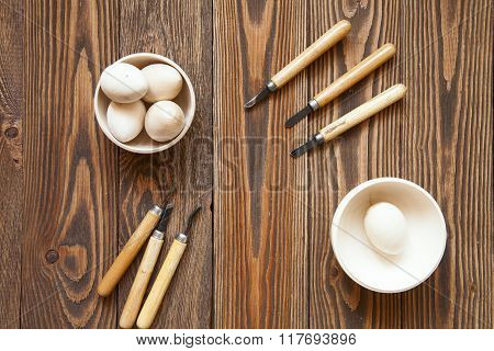 Handmade,  Tools For Working With Wood, A Chisel, Wooden Background Of Boards, Rustic,