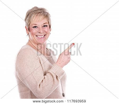 Casual Mature Woman Pointing