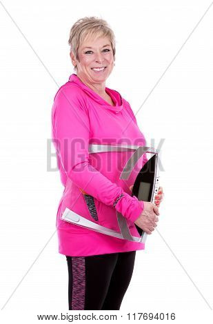 Fit Woman Holding Scale