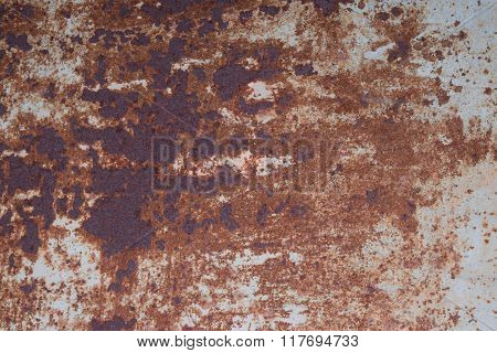 Sheet Of Iron Rusty With The Peeled-off Paint.