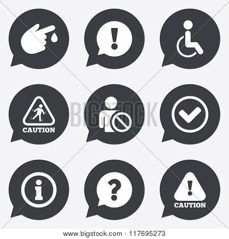 Caution and attention icons. Information signs.