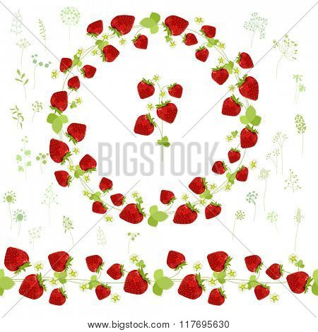 Floral round garland and endless pattern brush made of ripe strawberries.  Berries for romantic and design, decoration,  greeting cards, posters, invitations, advertisement.