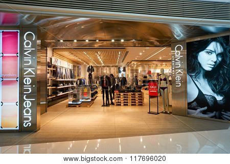 HONG KONG - JANUARY 26, 2016: entryway to Calvin Klein store at Elements Shopping Mall. Calvin Klein Inc. is an American fashion house founded by the fashion designer Calvin Klein.