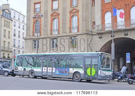 Paris, France, February 6, 2016: Bus on the street of Paris, France