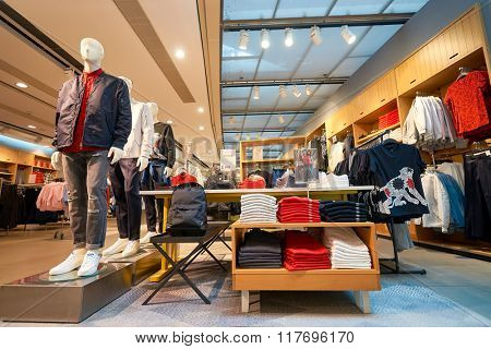 HONG KONG - JANUARY 26, 2016: interior of H&M store. H&M is a Swedish multinational retail-clothing company, known for its fast-fashion clothing for men, women, teenagers and children.