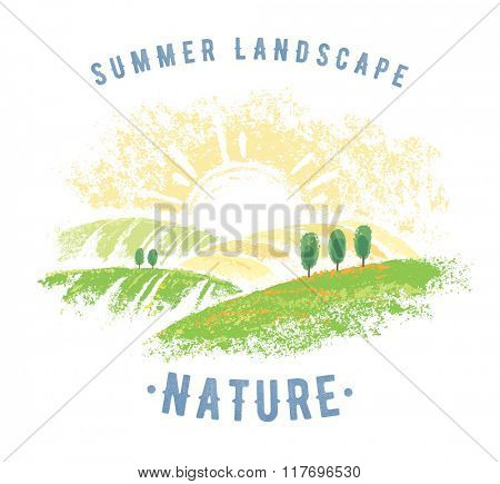 Graphic landscape with inscription, graphical elements for design project.