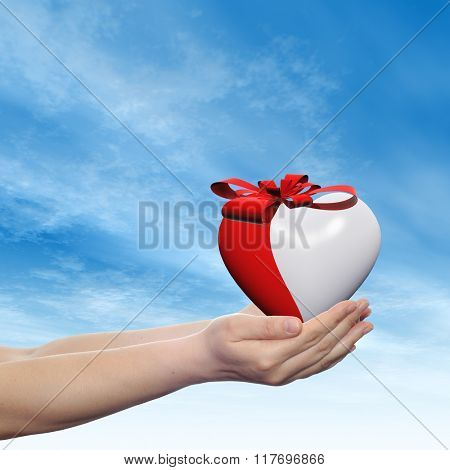 Concept or conceptual 3D red abstract heart sign or symbol with