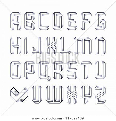 Impossible shape font. Vector.