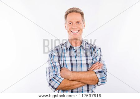 Handsome Happy Aged Man Crossing Hands