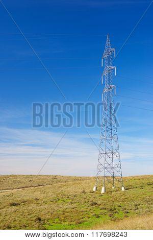 Power line in Zaragoza province, Aragon, Spain.