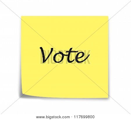 Sticky Note Reminder To Vote, Italics