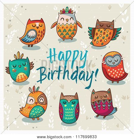 Happy birthday card with owls. Vector illustration