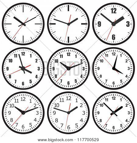 A set of six different dials.