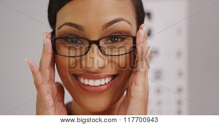 Happy Black Woman Wearing Eyeglasses