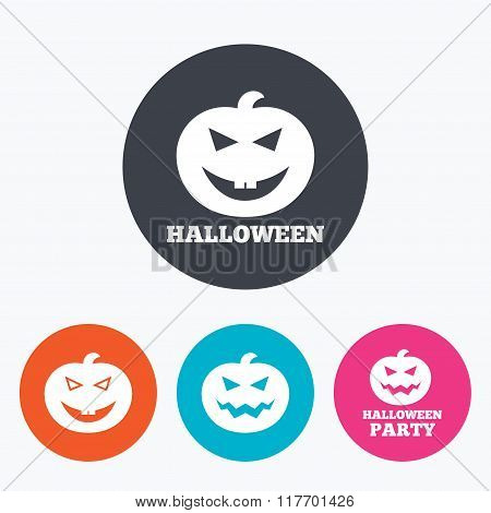 Halloween party icons. Pumpkin symbol.