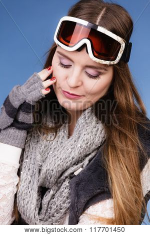 Skier Girl Wearing Warm Clothes Ski Googles Portrait.