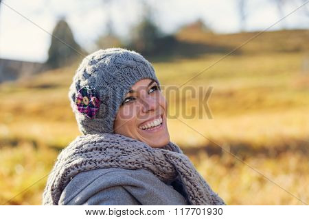 Girl in the countryside in the autumn campaign